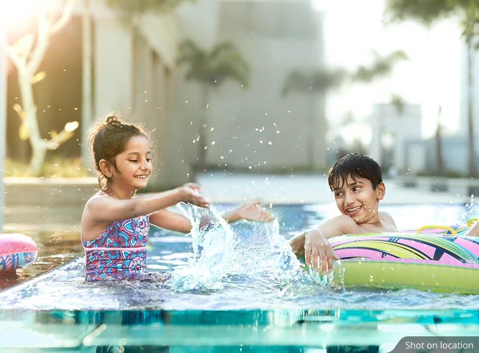 Swimming Pool near Villas by House of Hirandani in Devanahalli, Bengaluru