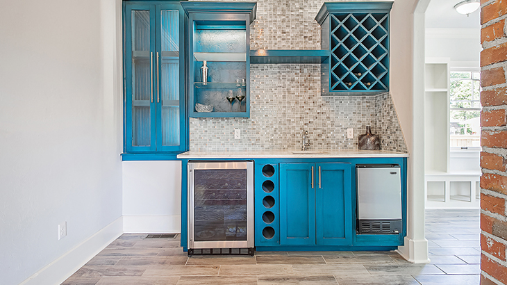 Colored cabinets and upholstery